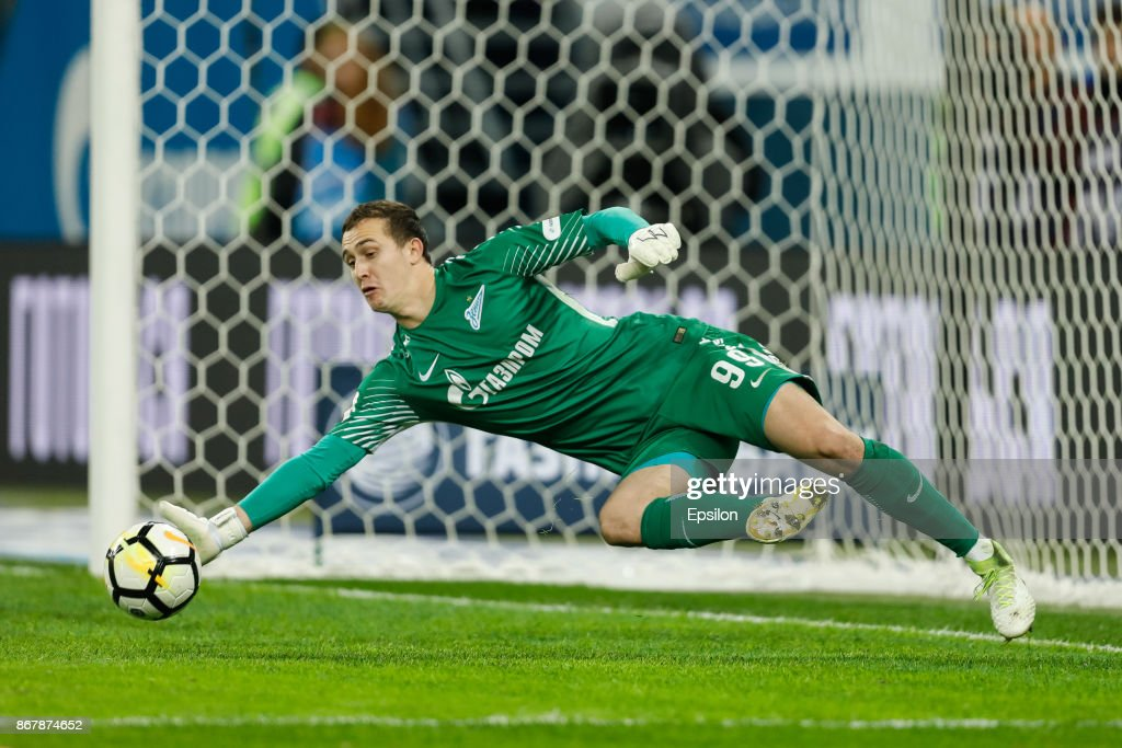 Andrei Lunev of FC Zenit Saint Petersburg saves the ball during the Russian Football League match between FC Zenit St. Petersburg and FC Lokomotiv Moscow on October 29, 2017 at Saint Petersburg Stadium in Saint Petersburg, Russia.