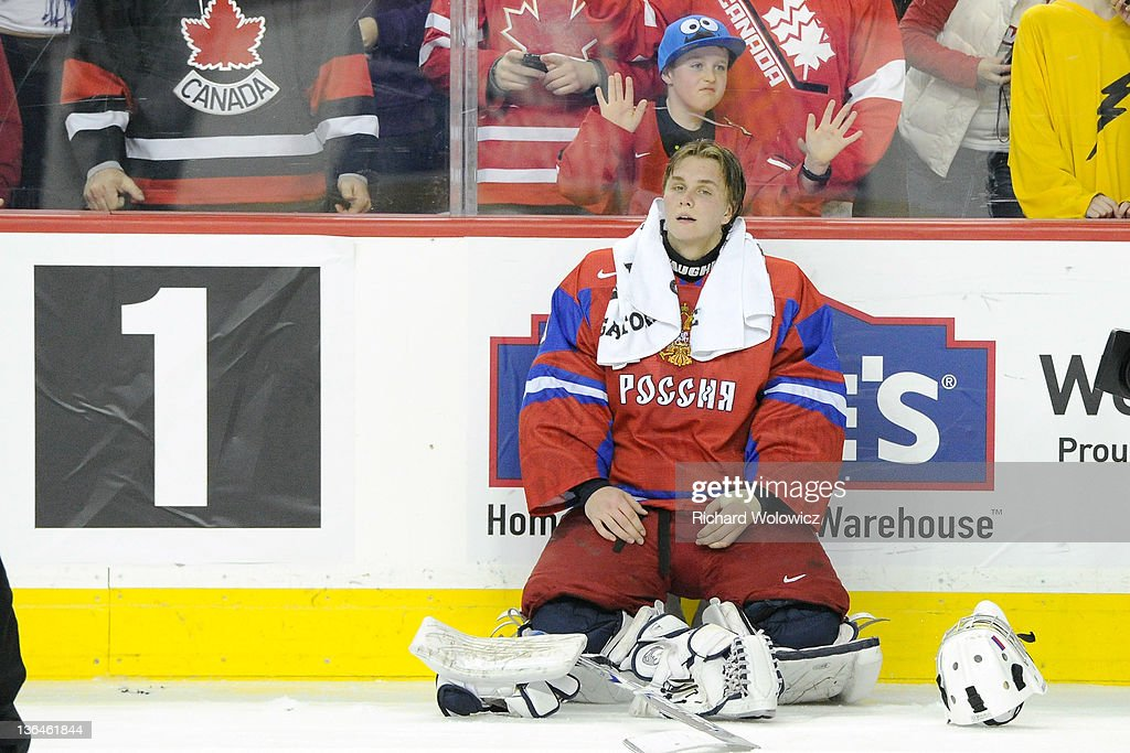 Andrei Makarov #20 of Team Russia reacts after being defeated in overtime by Mika Zibanejad #20 of Team Sweden (not pictured) during the 2012 World Junior Hockey Championship Gold Medal game at the Scotiabank Saddledome on January 5, 2012 in Calgary, Alberta, Canada. Team Sweden defeated Team Russia 1-0 in overtime.