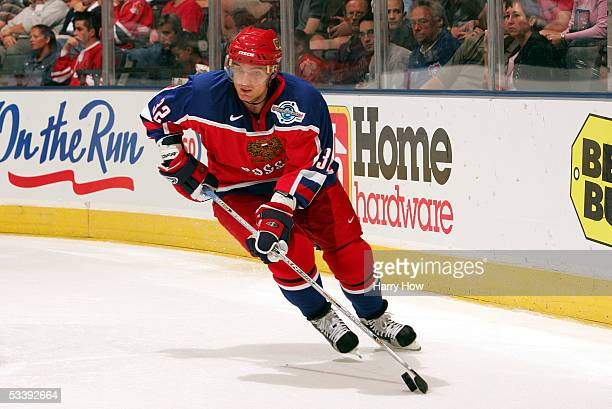 Andrei Markov of Russia handles the puck against Slovakia in the World Cup of Hockey on September 5, 2004 at the Air Canada Centre in Toronto,...
