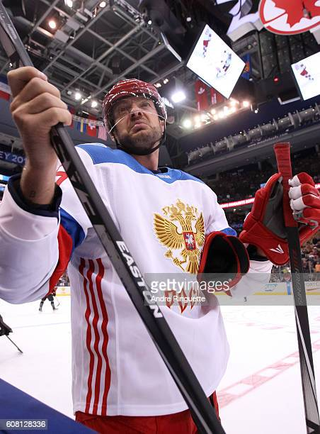 Andrei Markov of Team Russia warms up prior to a game against Team North America during the World Cup of Hockey 2016 at Air Canada Centre on...