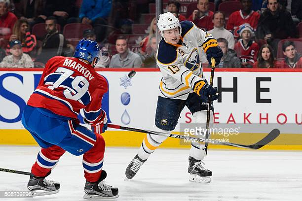 Andrei Markov of the Montreal Canadiens blocks the shot of Jack Eichel of the Buffalo Sabres during the NHL game at the Bell Centre on February 3...