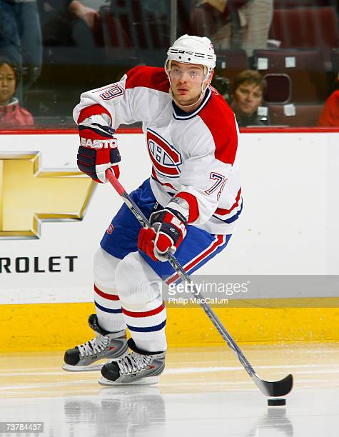 Andrei Markov of the Montreal Canadiens carries the puck up ice during a game against the Ottawa Senators on March 30 2007 at the Scotiabank Place in...