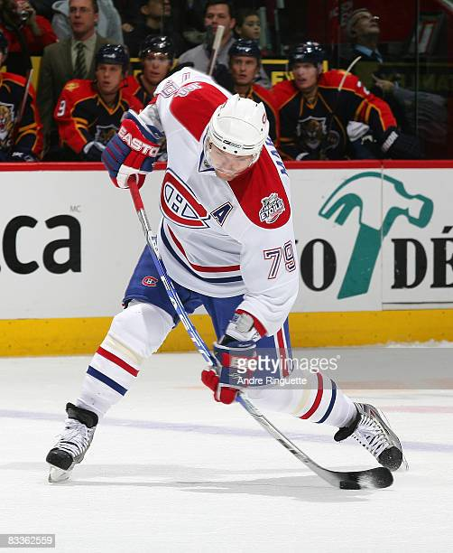 Andrei Markov of the Montreal Canadiens fires a slapshot and bends the shaft of his stick against the Florida Panthers at the Bell Centre on October...