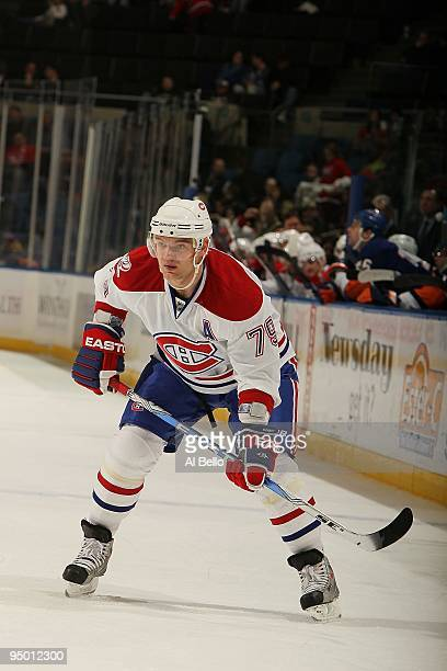 Andrei Markov of the Montreal Canadiens in action against the New York Islanders during their game at the Nassau Coliseum on December 19, 2009 at the...