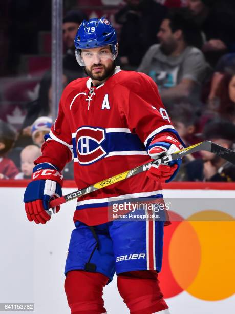 Andrei Markov of the Montreal Canadiens looks on during the NHL game against the Washington Capitals at the Bell Centre on February 4 2017 in...