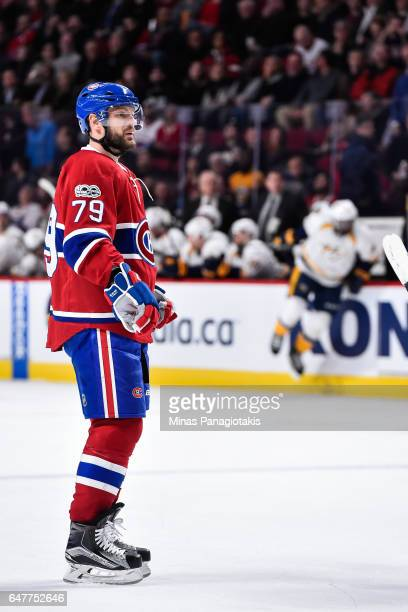 Andrei Markov of the Montreal Canadiens looks on during the NHL game against the Nashville Predators at the Bell Centre on March 2 2017 in Montreal...