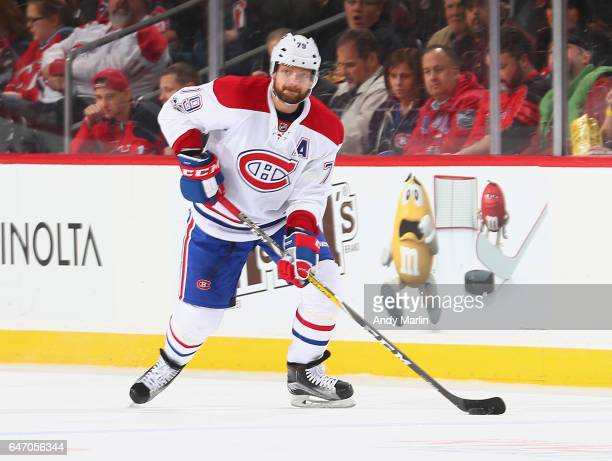 Andrei Markov of the Montreal Canadiens plays the puck against the New Jersey Devils during the game at Prudential Center on February 27 2017 in...