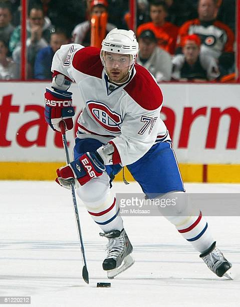 Andrei Markov of the Montreal Canadiens skates against the Philadelphia Flyers during Game 4 of the Eastern Conference Semifinals of the 2008 NHL...