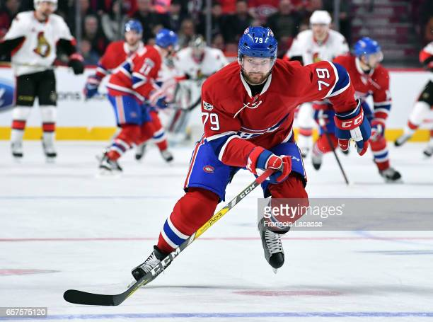 Andrei Markov of the Montreal Canadiens skates against the Ottawa Senators in the NHL game at the Bell Centre on March 19, 2017 in Montreal, Quebec,...