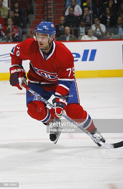 Andrei Markov of the Montreal Canadiens skates against the Pittsburgh Penguins during a pre-season game on September 17, 2007 at the Bell Centre in...