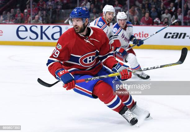 Andrei Markov of the Montreal Canadiens skates againstthe New York Rangers in Game Two of the Eastern Conference Quarterfinals during the 2017 NHL...
