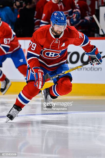 Andrei Markov of the Montreal Canadiens skates during the warmup prior to the NHL game against the Detroit Red Wings at the Bell Centre on November...