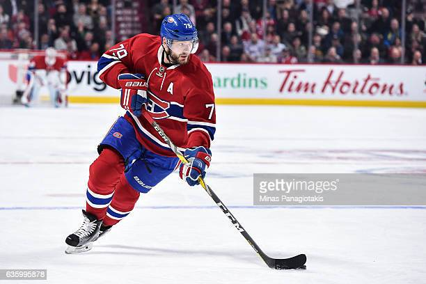 Andrei Markov of the Montreal Canadiens skates the puck during the NHL game against the Boston Bruins at the Bell Centre on December 12, 2016 in...