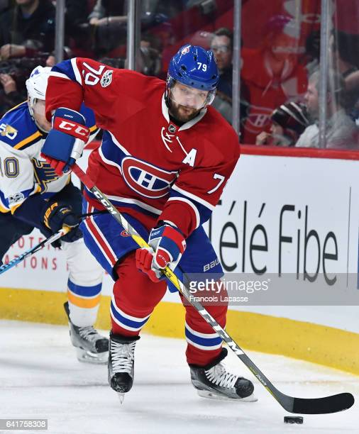 Andrei Markov of the Montreal Canadiens skates with the puck against the St Louis Blues in the NHL game at the Bell Centre on February 11 2017 in...
