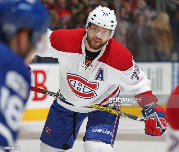 Andrei Markov of the Montreal Canadiens waits for a puck drop against the Toronto Maple Leafs during an NHL game at the Air Canada Centre on February...