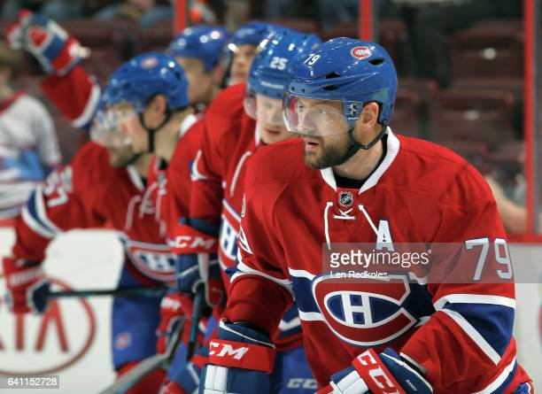 Andrei Markov of the Montreal Canadiens warms up prior to his game against the Philadelphia Flyers on February 2, 2017 at the Wells Fargo Center in...