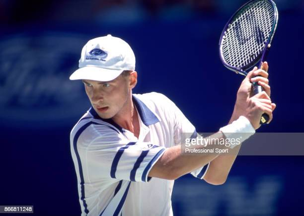 Andrei Medvedev of Ukraine in action during the Australian Open Tennis Championships at Flinders Park in Melbourne Australia circa January 1995