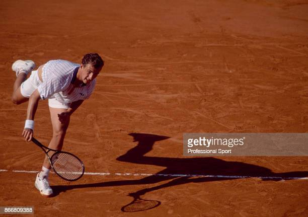 Andrei Medvedev of Ukraine in action during the French Open Tennis Championships at the Stade Roland Garros circa May 1994 in Paris France