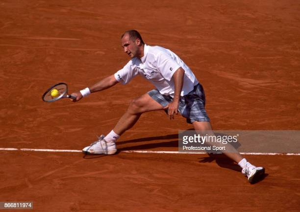 Andrei Medvedev of Ukraine in action during the French Open Tennis Championships at the Stade Roland Garros circa May 1999 in Paris France