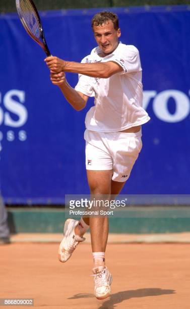 Andrei Medvedev of Ukraine in action during the Monte Carlo Open at the Monte Carlo Country Club in Monaco circa April 1993