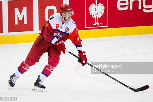 Andrei Mikhnov of YunostMinsk during the 3rd period of the Champions Hockey League group stage game between YunostMinsk and Vaxjo Lakers on August 23...
