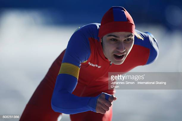 Andrei Parnica of Romania participates in the men 1500 m heats during day 1 of ISU speed skating junior world cup at ice rink Pine stadium on January...