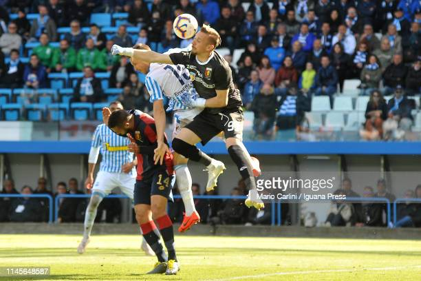 Andrei Radu goalkeeper of Genoa CFC saves his goal during the Serie A match between SPAL and Genoa CFC at Stadio Paolo Mazza on April 28 2019 in...