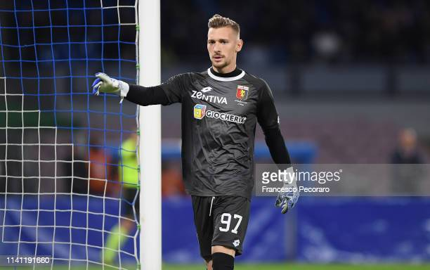 Andrei Radu of Genoa CFC in action during the Serie A match between SSC Napoli and Genoa CFC at Stadio San Paolo on April 7, 2019 in Naples, Italy.