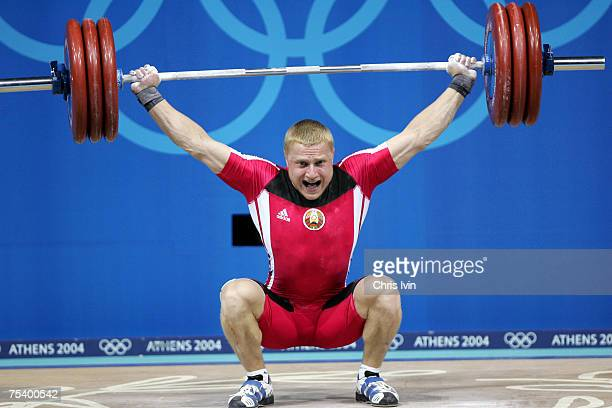 Andrei Rybakou of Belarus lifts 183kg in the Snatch but the lift is not allowed as the as he started his lift out of time He wins the Group B with a...