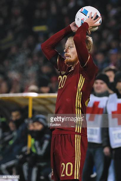 Andrei Semyonov of Russia in action during international friendly football match between Russia and Croatia at Olymp II stadium on November 17 2015...