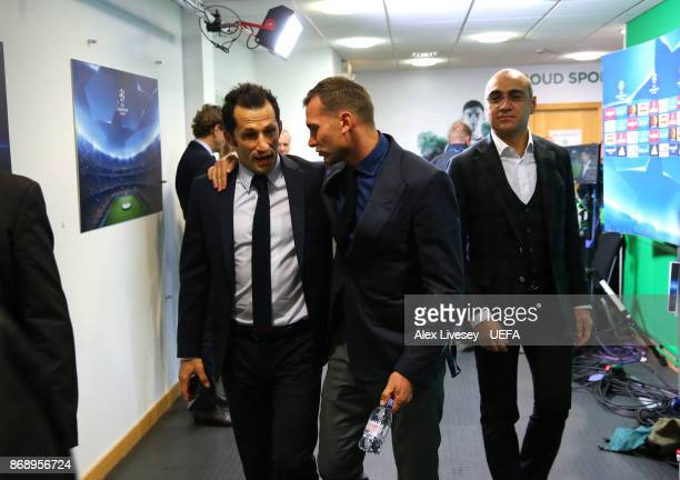 Andrei Shevchenko arrives to watch the UEFA Champions League group B match between Celtic FC and Bayern Muenchen at Celtic Park on October 31 2017 in...