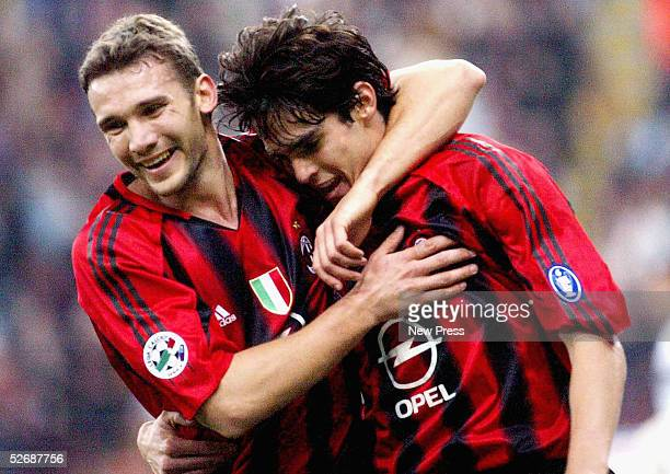 Andrei Shevchenko celebrates with Kaka of AC Milan during the Serie A match between AC Milan and Parma at the Giusseppe Meaza San Siro stadium on...