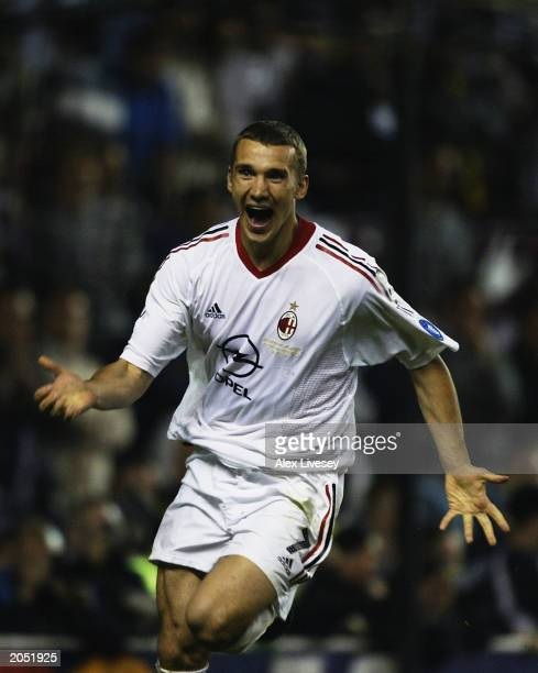Andrei Shevchenko of AC Milan celebrates after scoring the winning penalty after the UEFA Champions League Final match between Juventus FC and AC...