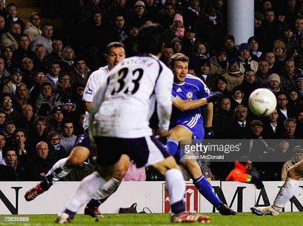 Andrei Shevchenko of Chelsea scores the opening goal during the FA Cup sponsored by EON Quarter Final replay match between Tottenham Hotspur and...