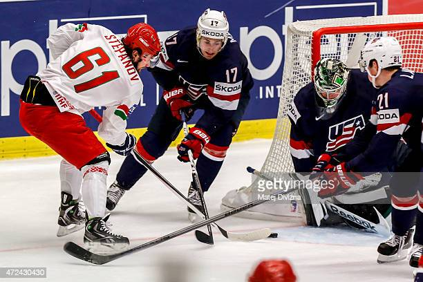 Andrei Stepanov of Belarus tries to score against Jack Campbell , goalkeeper of USA, during the IIHF World Championship group B match between USA and...