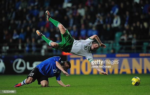 Andrei Stepanov of Estonia is sent off for the tackle on Robbie Keane of Republic of Ireland during the Estonia and Republic of Ireland EURO 2012...