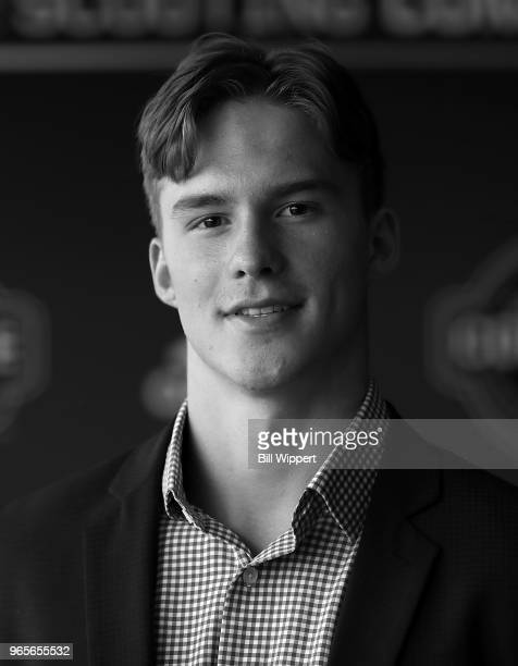 Andrei Svechnikov attends the Top Prospects Media Availability at the NHL Scouting Combine on June 1 2018 at HarborCenter in Buffalo New York