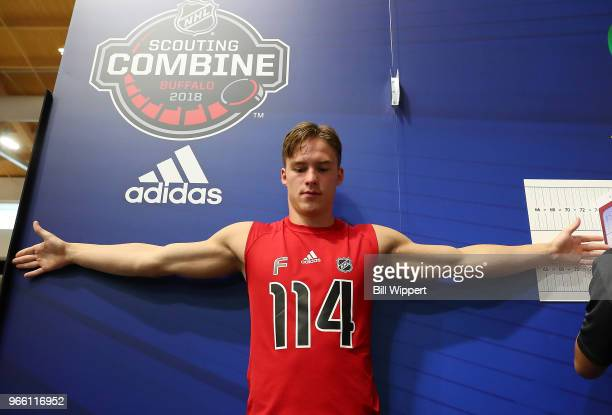 Andrei Svechnikov has his wingspan measured during the NHL Scouting Combine on June 2 2018 at HarborCenter in Buffalo New York