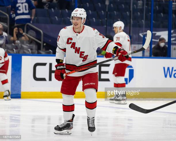 Andrei Svechnikov of the Carolina Hurricanes before the game against the Tampa Bay Lightning in Game Three of the Second Round of the 2021 Stanley...