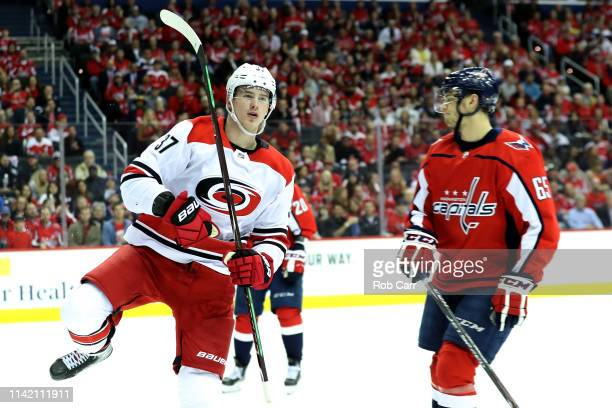 Andrei Svechnikov of the Carolina Hurricanes celebrates a goal in the third period against the Washington Capitals in Game One of the Eastern...
