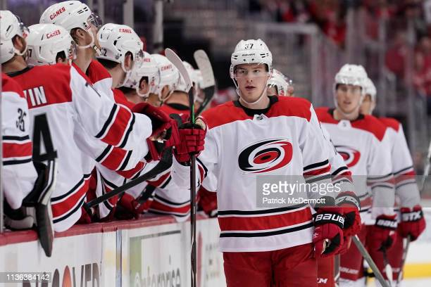 Andrei Svechnikov of the Carolina Hurricanes celebrates after scoring his first goal of the game in the third period against the Washington Capitals...