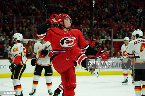 Andrei Svechnikov of the Carolina Hurricanes celebrates after scoring a goal against the Calgary Flames during an NHL game on October 29, 2019 at PNC...