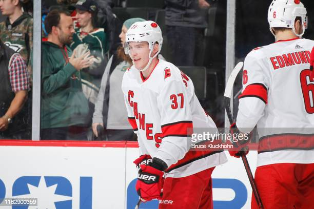 Andrei Svechnikov of the Carolina Hurricanes celebrates after scoring the game winning goal in overtime against the Minnesota Wild at the Xcel Energy...