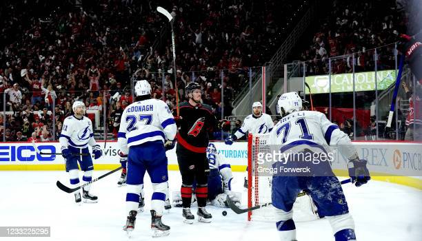 Andrei Svechnikov of the Carolina Hurricanes celebrates his third period goal in Game Two of the Second Round of the 2021 Stanley Cup Playoffs...