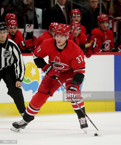 Andrei Svechnikov of the Carolina Hurricanes controls the puck on the ice during an NHL game against the Toronto Maple Leafs on December 11 2018 at...