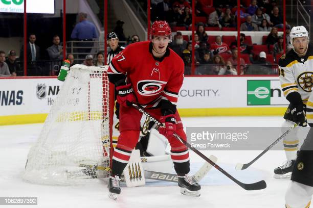 Andrei Svechnikov of the Carolina Hurricanes creates traffic near the crease during an NHL game against the Boston Bruins on October 30 2018 at PNC...