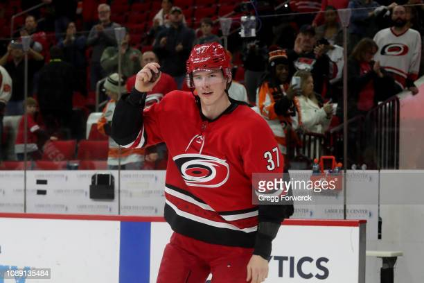 Andrei Svechnikov of the Carolina Hurricanes is named 2nd star of the game after a victory over the Philadelphia Flyers during an NHL game on...