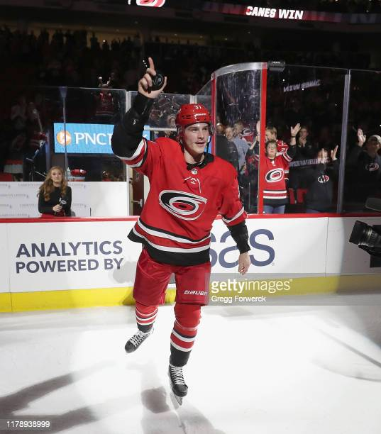 Andrei Svechnikov of the Carolina Hurricanes is named first star following an NHL game against the Calgary Flames on October 29, 2019 at PNC Arena in...