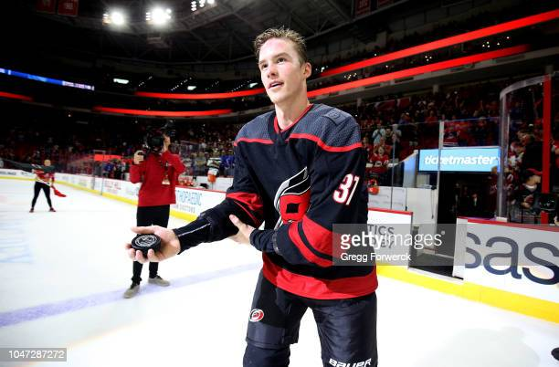 Andrei Svechnikov of the Carolina Hurricanes is recognized as the first star of the game following an NHL game against the New York Rangers on...