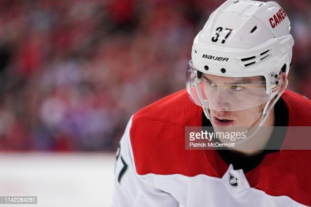 Andrei Svechnikov of the Carolina Hurricanes looks on in the third period against the Washington Capitals in Game One of the Eastern Conference First...